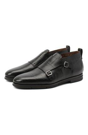 Мужские кожаные монки SANTONI черного цвета, арт. MCNC16737SI5AGTKN01 | Фото 1