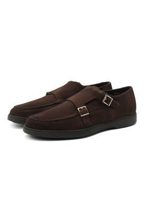 Мужские замшевые монки SANTONI коричневого цвета, арт. MGYA16166SM0APMST55 | Фото 1