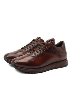 Мужские кожаные кроссовки W.GIBBS коричневого цвета, арт. 8491001/2304   Фото 1