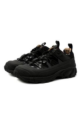 Женские комбинированные кроссовки BURBERRY черного цвета, арт. 8036166 | Фото 1 (Подошва: Платформа; Материал внутренний: Натуральная кожа, Текстиль)