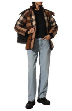 Женские комбинированные кроссовки BURBERRY черного цвета, арт. 8036166 | Фото 2 (Подошва: Платформа; Материал внутренний: Натуральная кожа, Текстиль)