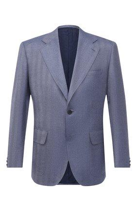 Мужской пиджак из шелка и кашемира BRIONI голубого цвета, арт. RGQP0L/09403/TRAVEL 75 | Фото 1