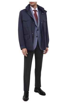 Мужской пиджак из шелка и кашемира BRIONI голубого цвета, арт. RGQP0L/09403/TRAVEL 75 | Фото 2