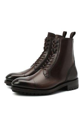 Мужские кожаные ботинки BRIONI темно-коричневого цвета, арт. QCD90L/P6757 | Фото 1