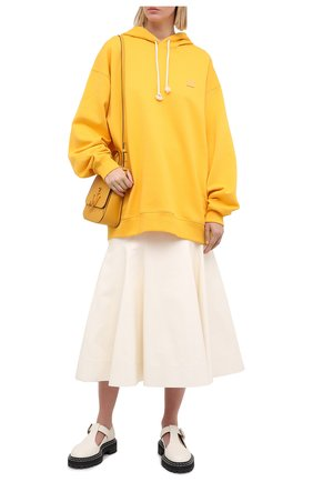 Женский хлопковое худи ACNE STUDIOS желтого цвета, арт. CI0009/W | Фото 2