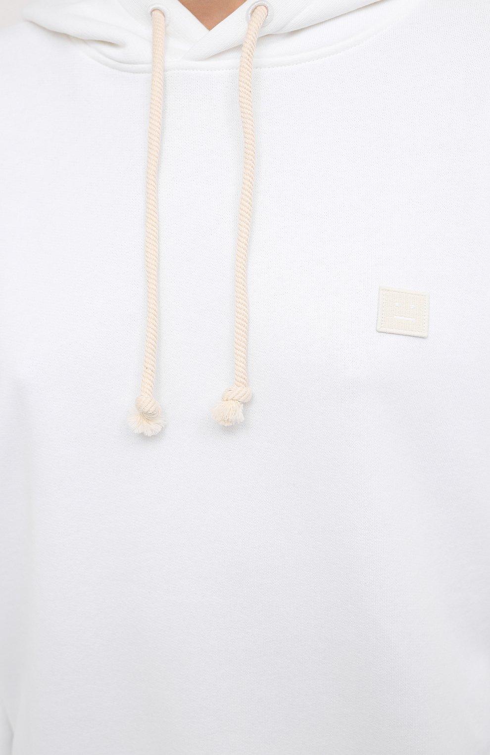 Женский хлопковое худи ACNE STUDIOS белого цвета, арт. CI0009/W | Фото 5