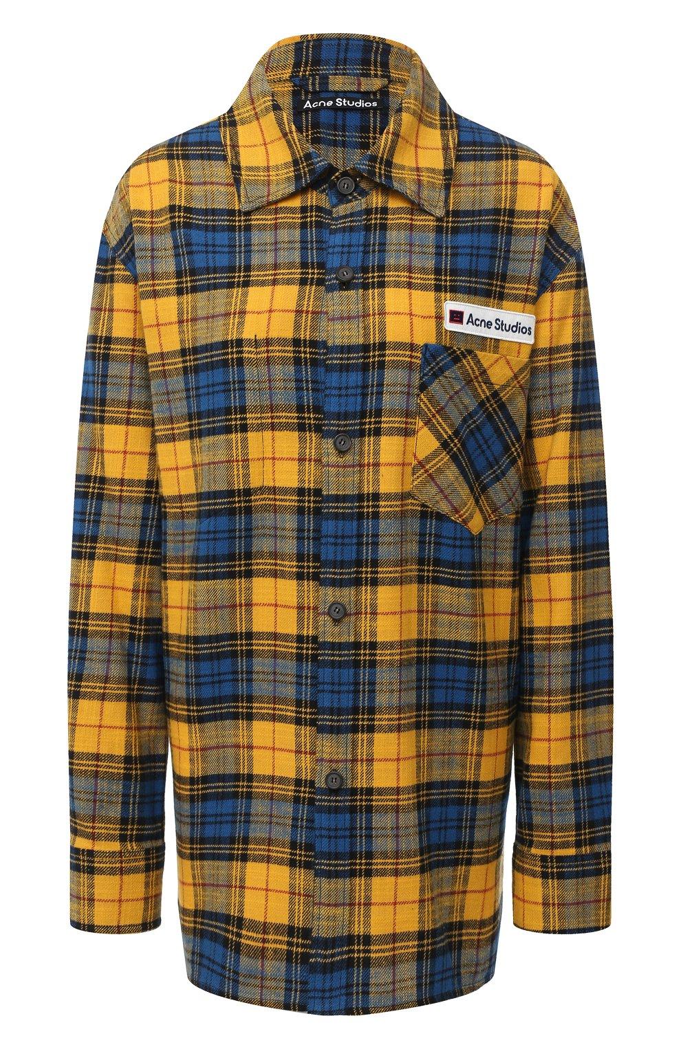 Женская хлопковая рубашка ACNE STUDIOS желтого цвета, арт. CB0023/W   Фото 1
