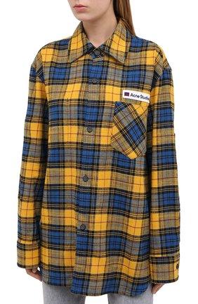 Женская хлопковая рубашка ACNE STUDIOS желтого цвета, арт. CB0023/W   Фото 3