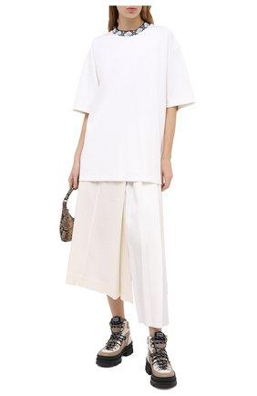 Женская хлопковая футболка ACNE STUDIOS белого цвета, арт. CL0072/W | Фото 2