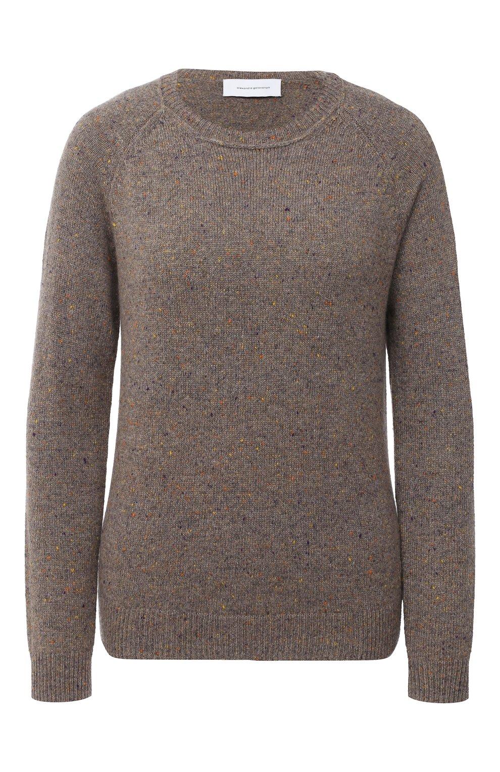 Женский кашемировый пуловер ALEXANDRA GOLOVANOFF светло-коричневого цвета, арт. MILA TWEED   Фото 1 (Материал внешний: Шерсть, Кашемир; Рукава: Длинные; Длина (для топов): Стандартные; Женское Кросс-КТ: Пуловер-одежда)