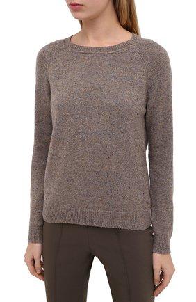Женский кашемировый пуловер ALEXANDRA GOLOVANOFF светло-коричневого цвета, арт. MILA TWEED   Фото 3 (Материал внешний: Шерсть, Кашемир; Рукава: Длинные; Длина (для топов): Стандартные; Женское Кросс-КТ: Пуловер-одежда)