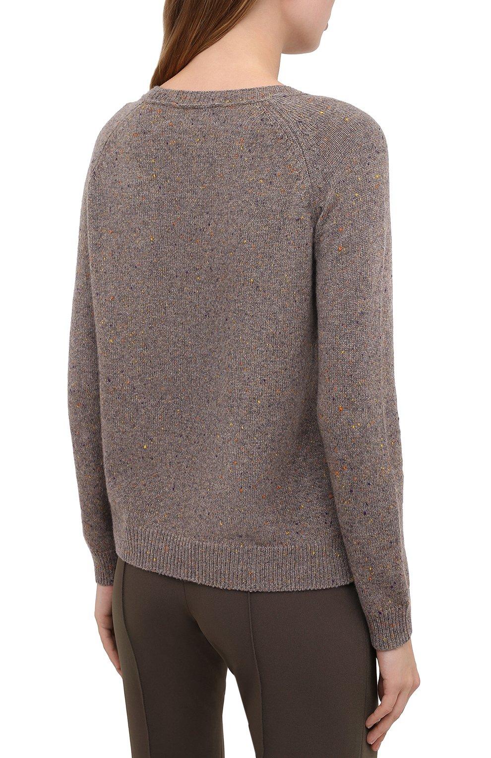 Женский кашемировый пуловер ALEXANDRA GOLOVANOFF светло-коричневого цвета, арт. MILA TWEED   Фото 4 (Материал внешний: Шерсть, Кашемир; Рукава: Длинные; Длина (для топов): Стандартные; Женское Кросс-КТ: Пуловер-одежда)