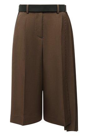 Женские шерстяные шорты SACAI коричневого цвета, арт. 20-05133 | Фото 1
