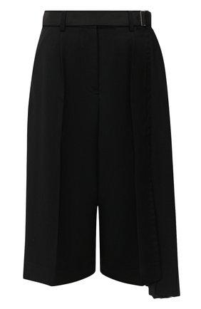 Женские шерстяные шорты SACAI черного цвета, арт. 20-05133 | Фото 1