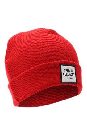 Женский шерстяная шапка OPENING CEREMONY красного цвета, арт. YWLC001E20KNI001 | Фото 1