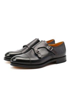 Мужские кожаные монки DOUCAL'S темно-серого цвета, арт. DU2750RYANUF194NN05 | Фото 1