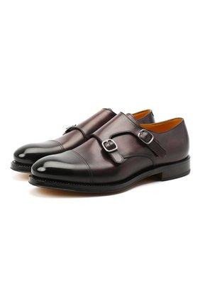 Мужские кожаные монки DOUCAL'S темно-коричневого цвета, арт. DU2750RYANUF194TM02 | Фото 1
