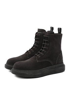 Мужские замшевые ботинки ALEXANDER MCQUEEN темно-серого цвета, арт. 625184/WHXK9 | Фото 1