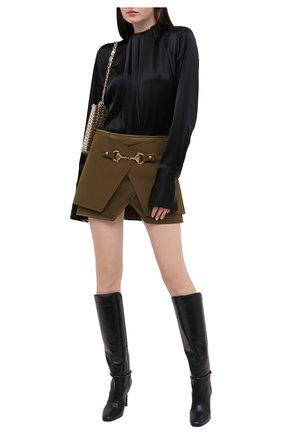 Женская юбка из вискозы BALMAIN хаки цвета, арт. UF04079/V089 | Фото 2