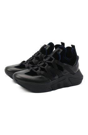Мужские комбинированные кроссовки GIORGIO ARMANI темно-синего цвета, арт. X2X132/XM646 | Фото 1