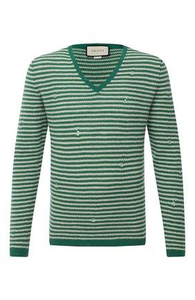 Мужской шерстяной свитер GUCCI зеленого цвета, арт. 635757/XKBIW | Фото 1 (Рукава: Длинные; Длина (для топов): Стандартные; Материал внешний: Шерсть; Мужское Кросс-КТ: Свитер-одежда; Принт: Без принта; Стили: Кэжуэл, Гранж)