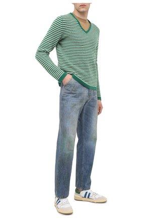 Мужской шерстяной свитер GUCCI зеленого цвета, арт. 635757/XKBIW | Фото 2 (Рукава: Длинные; Длина (для топов): Стандартные; Материал внешний: Шерсть; Мужское Кросс-КТ: Свитер-одежда; Принт: Без принта; Стили: Кэжуэл, Гранж)