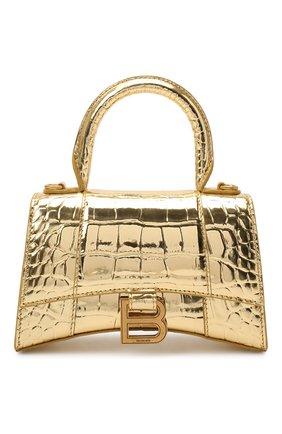 Женская сумка hourglass xs BALENCIAGA золотого цвета, арт. 592833/1S4GM | Фото 1 (Материал: Натуральная кожа; Размер: mini; Ремень/цепочка: На ремешке; Сумки-технические: Сумки через плечо, Сумки top-handle)