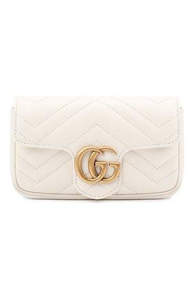 Женская сумка gg marmont super mini GUCCI белого цвета, арт. 476433/DTDCT   Фото 1