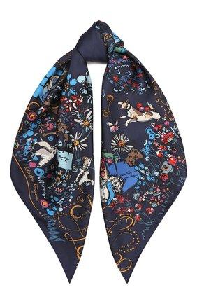 Женский шелковый платок SALVATORE FERRAGAMO синего цвета, арт. Z-0735107 | Фото 1