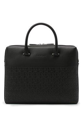Мужская кожаная сумка для ноутбука SALVATORE FERRAGAMO черного цвета, арт. Z-0733160 | Фото 1