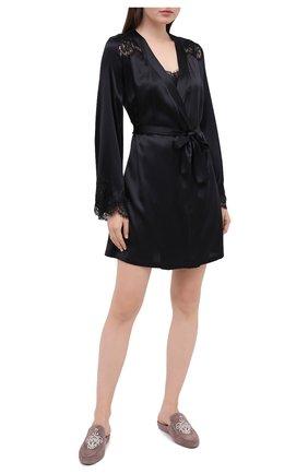 Женский халат I.D. SARRIERI черного цвета, арт. L3061 | Фото 2