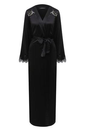 Женский халат I.D. SARRIERI черного цвета, арт. L3071 | Фото 1