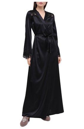 Женский халат I.D. SARRIERI черного цвета, арт. L3071 | Фото 2