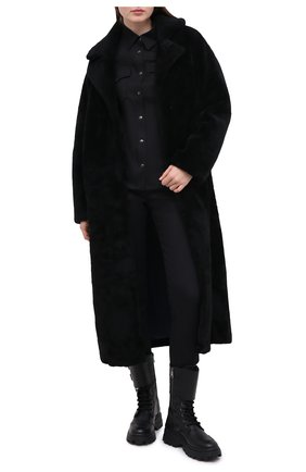 Женская шуба из овчины METEO YVES SALOMON черного цвета, арт. 9WMM61820MERC | Фото 2