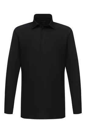 Мужская сорочка из хлопка и шелка ERMENEGILDO ZEGNA черного цвета, арт. 801953/9MCZRM | Фото 1