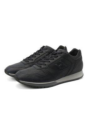 Мужские кожаные кроссовки HOGAN темно-синего цвета, арт. HXM3210K15203R   Фото 1