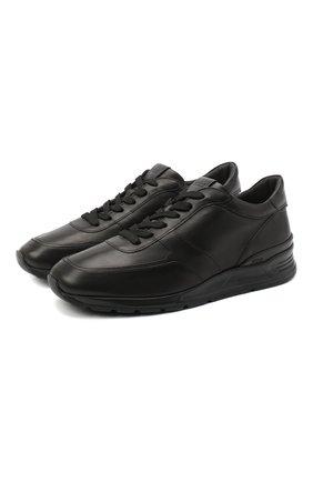 Мужские кожаные кроссовки TOD'S черного цвета, арт. XXM69A0Z282DVR | Фото 1