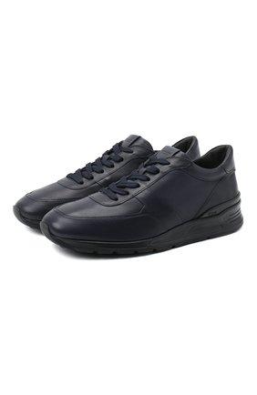 Мужские кожаные кроссовки TOD'S темно-синего цвета, арт. XXM69A0Z282DVR   Фото 1