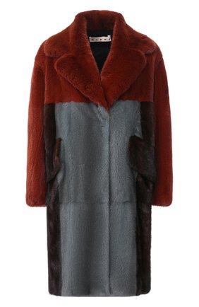 Женская шуба из меха норки MARNI серого цвета, арт. CPMNU13MQUP0800   Фото 1