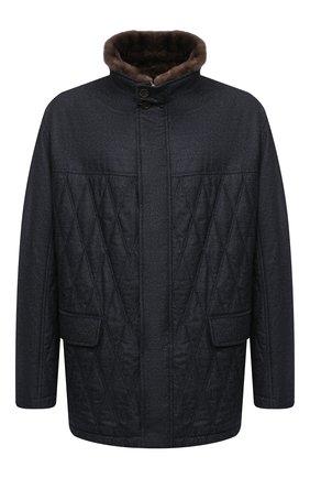 Мужская шерстяная куртка с меховой отделкой CANALI синего цвета, арт. 020275JP/SG01674 | Фото 1
