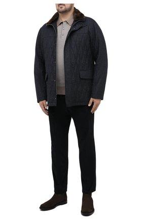 Мужской хлопковые брюки HILTL темно-синего цвета, арт. 74818/60-70 | Фото 2