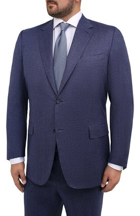 Мужской шерстяной костюм CANALI синего цвета, арт. 11280/10/BF01268/60-64   Фото 2 (Big sizes: Big Sizes; Стили: Классический; Рукава: Длинные; Материал подклада: Купро; Материал внешний: Шерсть; Костюмы М: Однобортный)