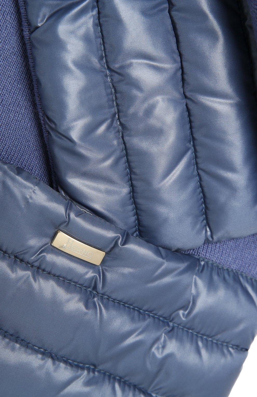 Детский комбинированный шарф HERNO голубого цвета, арт. SCP001G/12017 | Фото 2