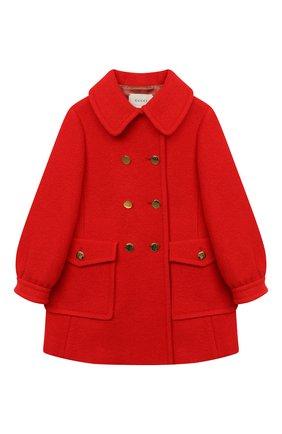 Детское шерстяное пальто GUCCI красного цвета, арт. 622836/XWALD   Фото 1