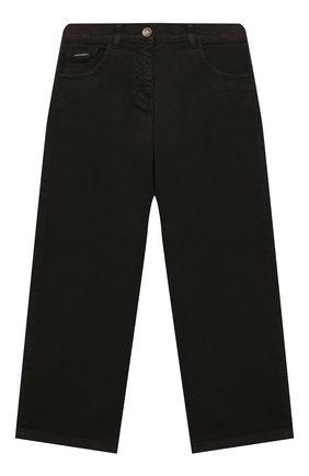 Детские джинсы DOLCE & GABBANA темно-коричневого цвета, арт. L52F18/LY045/2-6 | Фото 1 (Материал внешний: Хлопок; Девочки Кросс-КТ: Брюки-одежда; Ростовка одежда: 2 года | 92 см, 3 года | 98 см, 4 года | 104 см, 5 лет | 110 см, 6 лет | 116 см)