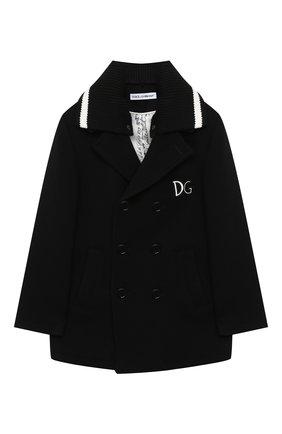 Детское шерстяное пальто DOLCE & GABBANA черного цвета, арт. L41C93/G7XID/2-6 | Фото 1