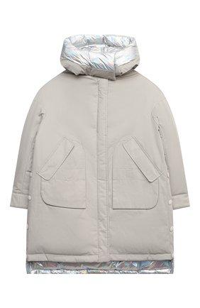 Детского пуховая куртка YVES SALOMON ENFANT бежевого цвета, арт. 21WEM002XXF33W/12-14 | Фото 1