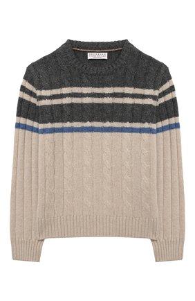 Детский кашемировый пуловер BRUNELLO CUCINELLI разноцветного цвета, арт. B22M71000A | Фото 1