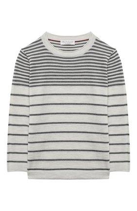 Детский шерстяной пуловер BRUNELLO CUCINELLI светло-серого цвета, арт. B24M11000B | Фото 1