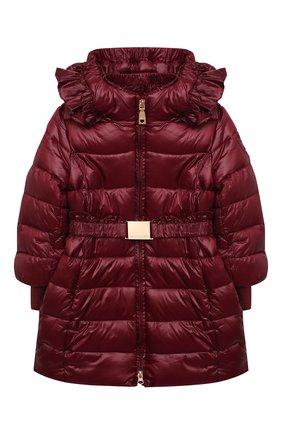 Детское утепленное пальто MONNALISA бордового цвета, арт. 176104   Фото 1